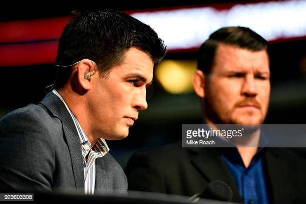 UFC commentators Dominick Cruz and Michael Bisping wait on the FOX television desk during the UFC Fight Night Weighins at Amway Center on February 23...
