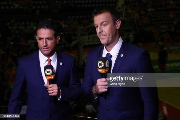 Commentators during the round 19 NBL match between the Cairns Taipans and the Adelaide 36ers at the Cairns Convention Centre on February 9 2017 in...
