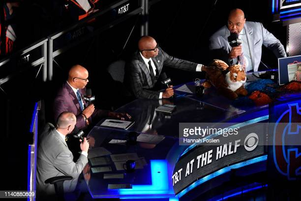 TV commentators Ernie Johnson Clark Kellogg Kenny Smith and Charles Barkley speak during the 2019 NCAA Final Four semifinal between the Auburn Tigers...
