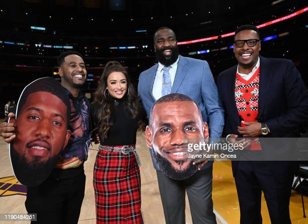 Commentators for ESPN's NBA coverage Amin Elhassan Cassidy Hubbarth Kendrick Perkins and Paul Pierce pose for a photo before the game between the Los...