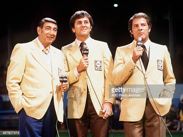 FOOTBALL Commentators gallery 9/26/77 Howard Cosell Don Meredith and Frank Gifford at the New England Patriots vs Cleveland Browns game won by the...