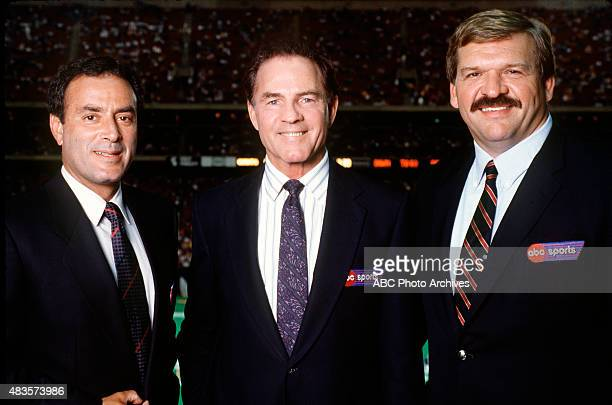 FOOTBALL Commentators gallery 9/6/88 Al Michaels Frank Gifford and Dan Dierdorf at the Washington Redskins vs NY Giants game won by the Giants 2720...