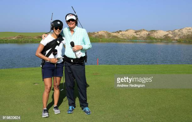 TV commentators Henni Goya and Ken Brown during the final round of the NBO Oman Open at Al Mouj Golf on February 18 2018 in Muscat Oman