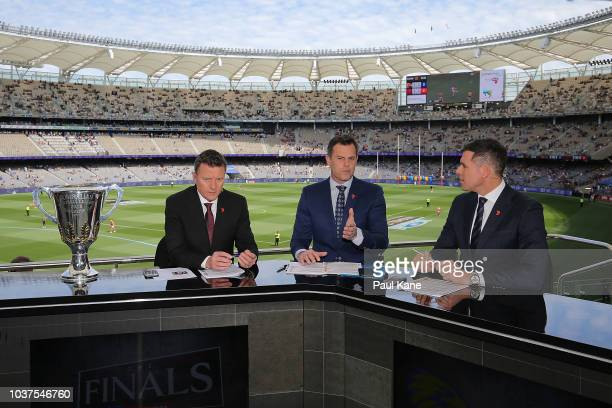 Commentators James Brayshaw Luke Darcy and Matthew Richardson preview the game during the AFL Prelimary Final match between the West Coast Eagles and...