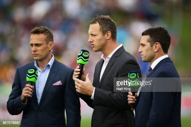 Commentators Matt Shirvington Mark Gasnier and Danny Buderus talk on camera prior to the round four NRL match between the Manly Warringah Sea Eagles...