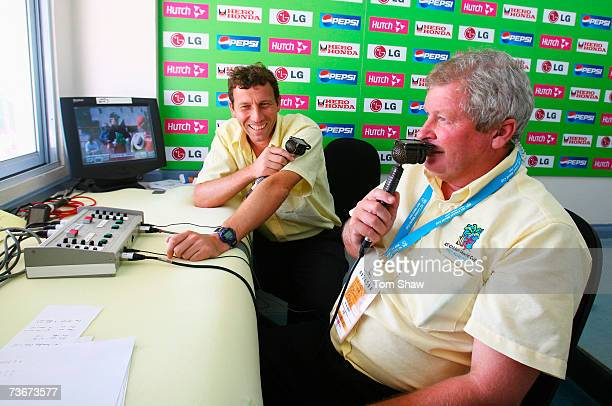 Commentators Michael Atherton and Ian Smith look on during the ICC Cricket World Cup Group C match between Canada and New Zealand at the Beausejour...