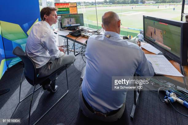 Commentators Nick Knight and Danny Morrison look on during the ICC U19 Cricket World Cup Semi Final match between Australia and Afghanistan at Hagley...