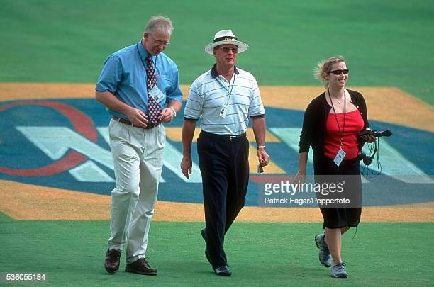 Commentators Paul Allott and Geoff Boycott during the 1st Test match between South Africa and England at Johannesburg South Africa 25th November 1999
