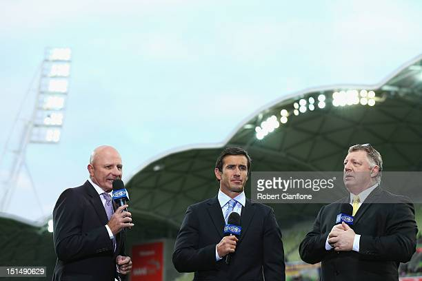 Commentators Peter Sterling Andrew Johns and Phil Gould are seen prior to the Second NRL Qualifying Final match between the Melbourne Storm and the...