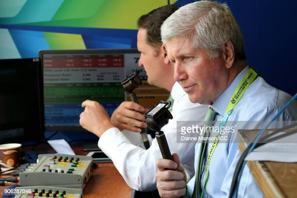 Commentators Rob Key and Alan Wilkins look on during the ICC U19 Cricket World Cup match between Bangladesh and England at John Davies on January 18...