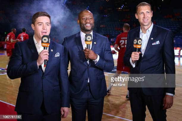 NBL commentators Seb Costello Corey Williams and Shawn Redhage talk to camera before the round four NBL match between the Perth Wildcats and the New...