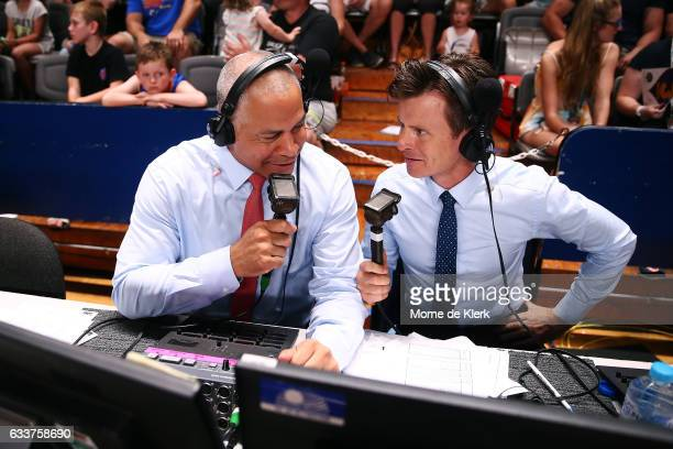 NBL commentators Steve Carfino and Anthony Hudson during the round 18 NBL match between the Adelaide 36ers and the New Zealand Breakers at Titanium...