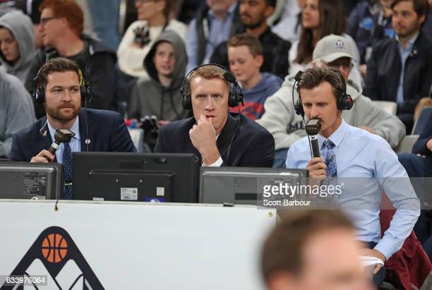 Commentators Tommy Greer Adam Ballinger and Anthony Hudson look on during the round 18 NBL match between Melbourne United and the Illawarra Hawks at...