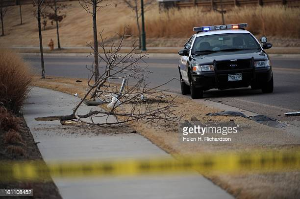 Commerce City police officer's car sits on scene where the robbery and attempted car-jacking suspects hit these trees along Hartland Street just off...