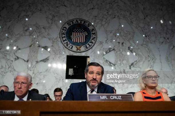 Commerce Committee chairman Sen Roger Wicker subcommittee chairman Sen Ted Cruz and subcommittee ranking member Sen Krysten Sinema attend a Senate...