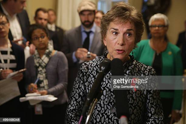 Commerce Committee's new Select Investigative Panel on Planned Parenthood raking member Rep Jan Schakowsky talks to reporters during a news...