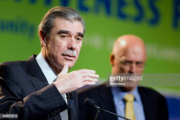 S Commerce Secretary Carlos Gutierrez speaks at a news conference at the Americas Competitiveness Forum as US Treasury Secretary Henry Paulson...