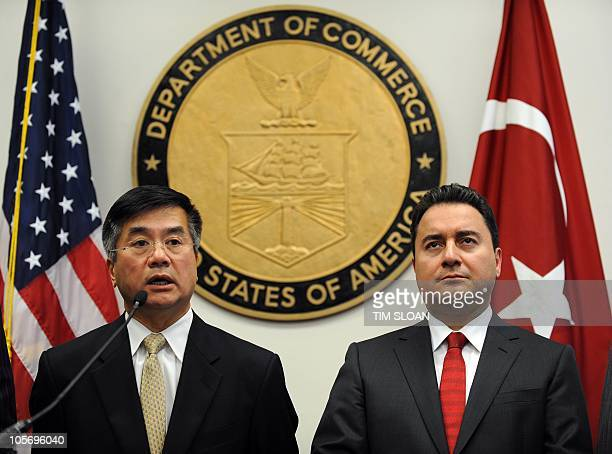 US Commerce Secretary Gary Locke makes remarks with Turkey Deputy Prime Minister Ali Babcan during a press conference after the inaugural meeting of...