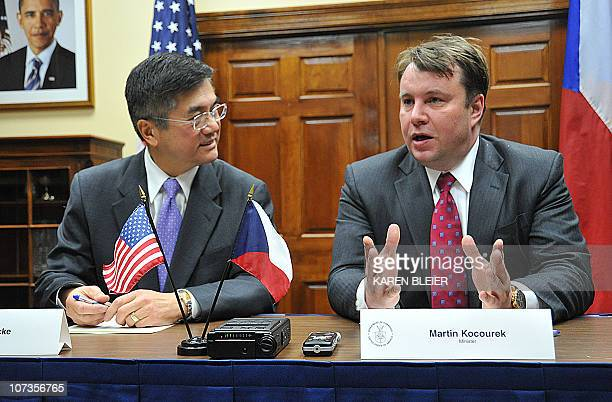 US Commerce Secretary Gary Locke meets with Czech Minister of Industry and Trade Martin Kocourek on December 6 2010 at the Commerce Department in...