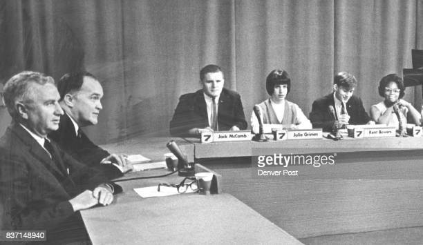 Commerce Secretary John T Connor Left Appears for Taping of Voice of Youth for TV Next to him is the announcer William R Wright Students from left...