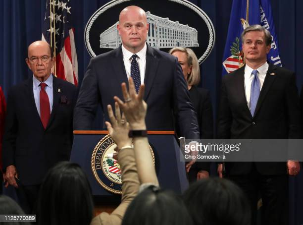US Commerce Secretary Wilbur Ross acting Attorney General Matthew Whitaker Homeland Security Secretary Kirstjen Nielsen and Federal Bureau of...