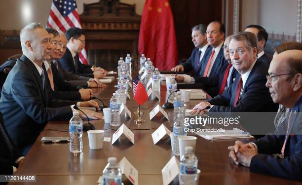 Commerce Secretary Wilbur Ross US Trade Representative Robert Lighthizer and other Trump Administration officials sit down with Chinese Vice Premier...
