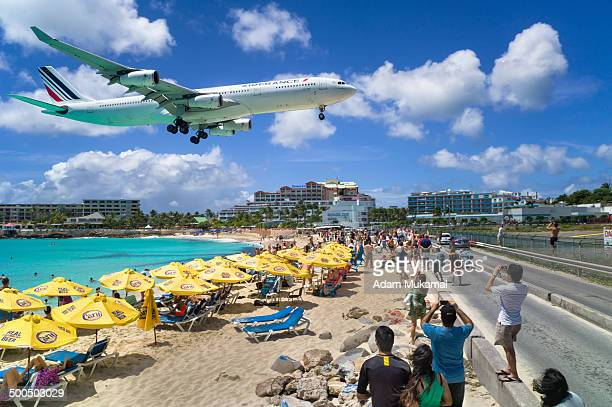 Commercial airline landing at the Princess Juliana International Airport in St Maarten.
