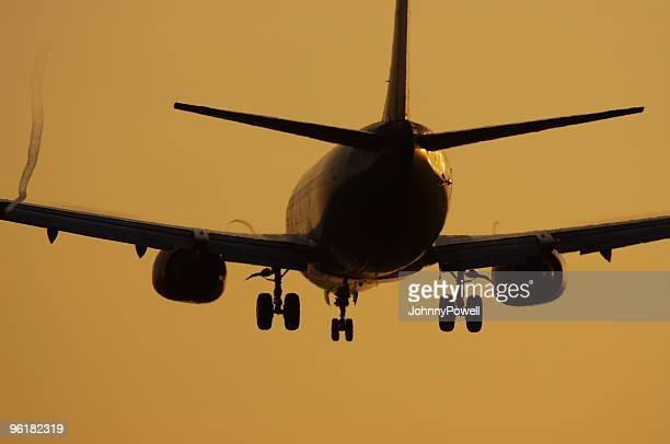 Commercial Airliner Sunrise Silhouette.