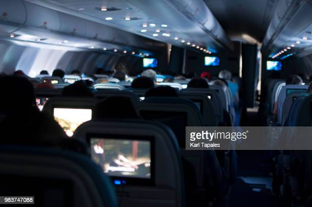 A commercial airplane interior during flight