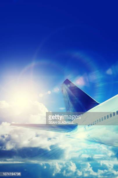 commercial airplane - airplane tail stock pictures, royalty-free photos & images