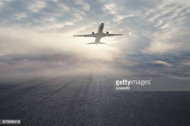 A commercial airplane took off,shanghai,China - East Asia,