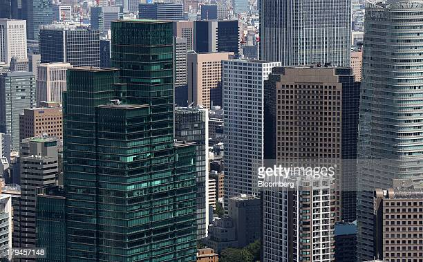 Commercial and residential buildings are seen from the observatory in the Roppongi Hills Mori Tower operated by Mori Building Co in Tokyo Japan on...