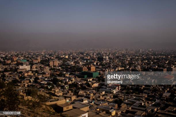 Commercial and residential buildings stand in Kabul Afghanistan on Sunday July 15 2018 US President Donald last year said 16000 US troops would...