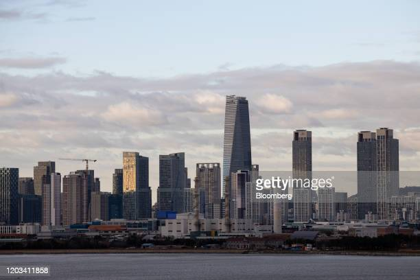 Commercial and residential buildings stand in the Songdo International Business District of Incheon, South Korea, on Tuesday, Feb. 25, 2020. South...