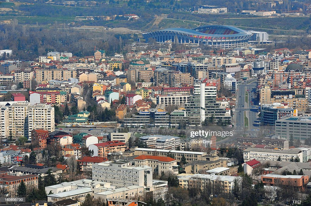 Commercial and residential buildings stand on the city skyline in Skopje, Macedonia, on Sunday, March 17, 2013. Macedonia's economy contracted by a real 0.3% on the year in 2012, compared to a growth of 2.8% a year earlier, an estimate released by the country's statistics office showed. Photographer: Oliver Bunic/Bloomberg via Getty Images