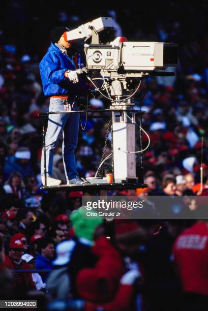 Commercial broadcast television cameraman using a Canon J40X9.58 IE television camera during the NFC West football game between the San Francisco...