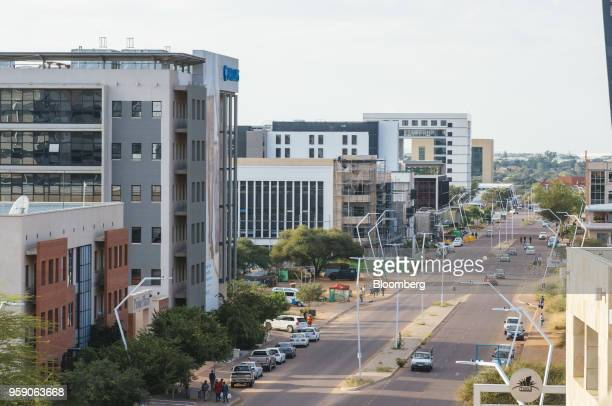 Commercial buildings including the Barclays Bank of Botswana Ltd office second right stand in the central business district of Gaborone Botswana on...