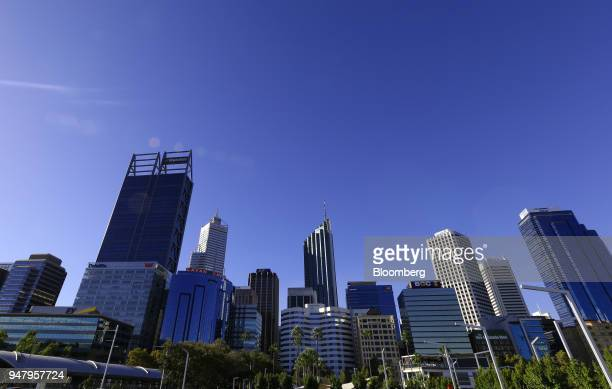 Commercial buildings stand in the central business district of Perth Australia on Wednesday April 11 2018 Australia is scheduled to release...