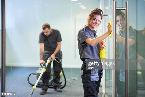 commercial cleaning contractors - window cleaning stock photos and pictures