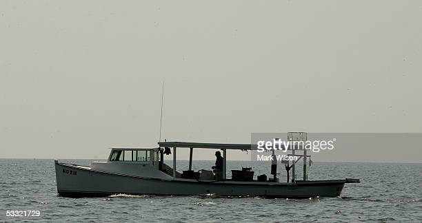 A commercial crab boat passes by on the Chesapeake Bay August 3 2005 in Chesapeake Beach Maryland The Maryland Blue Crab has been in decline in...