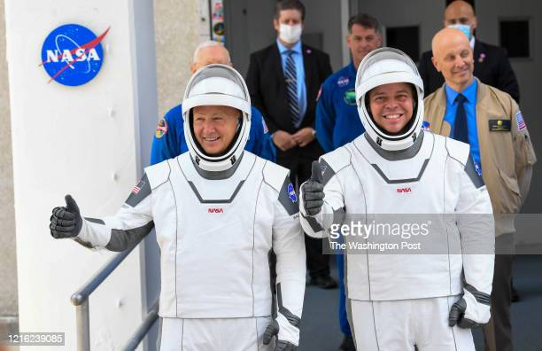 NASA commercial crew astronauts Doug Hurley and Bob Behnken leave for historic Launch Complex 39A for their flight aboard the SpaceX Falcon 9 rocket...