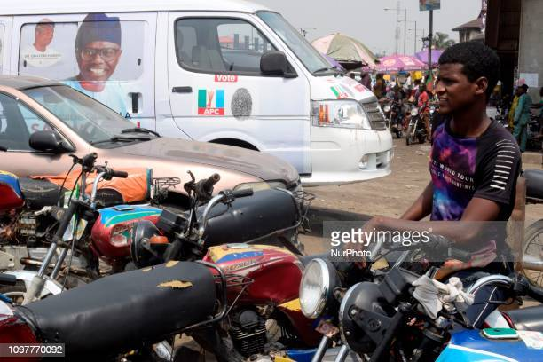 Commercial cyclists demonstrate their support during a presidential campaign for Nigerian President Muhammadu Buhari who is seeking reelection on the...