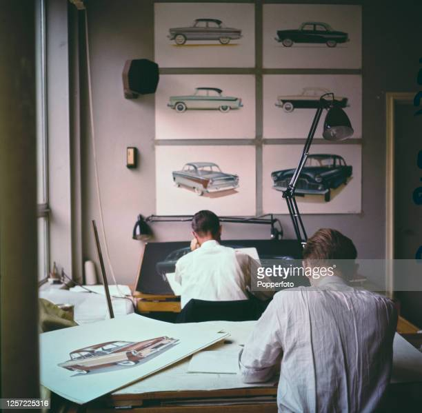 Commercial designers and artists at work sketching designs for new car models at the Ford Motor Company's Ford Styling Studios in Dagenham Essex...