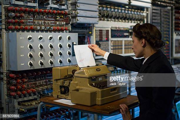 Commercial Director at The National Museum of Computing Jacqui Garrad demonstrates how the Colossus computer was used during World War II at Block H...
