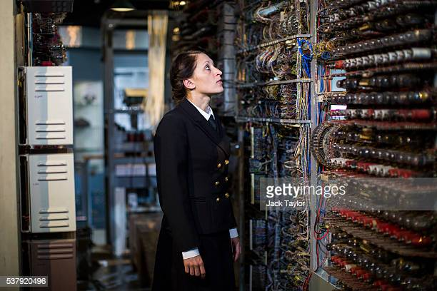 Commercial Director at The National Museum of Computing Jacqui Garrad poses with a Colossus computer used during World War II at Block H Bletchley...