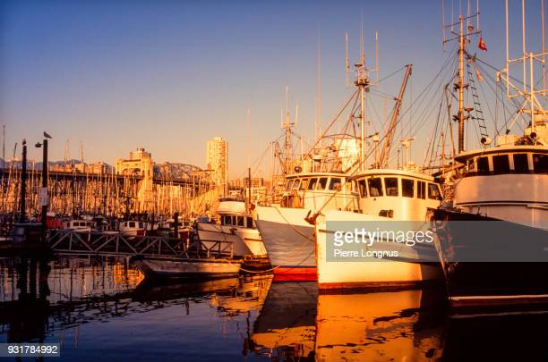Commercial fishing boats docked at Granville Island Marina, Burrard bridge visible in the background, Vancouver, British Columbia Canada