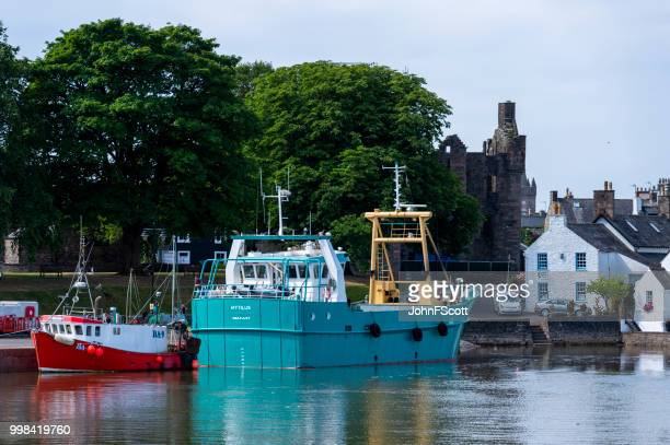 Commercial fishing boats in a Scottish harbour