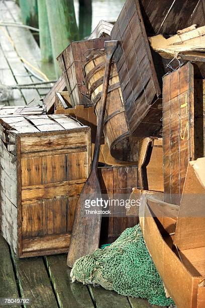 commercial fishing nets and other objects - thinkstock foto e immagini stock