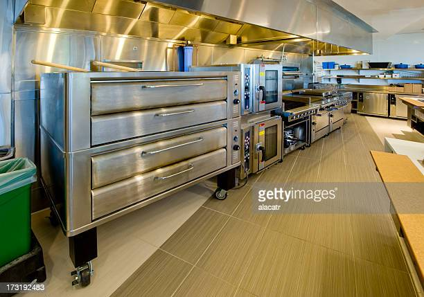 commercial kitchen - pizza oven stock photos and pictures