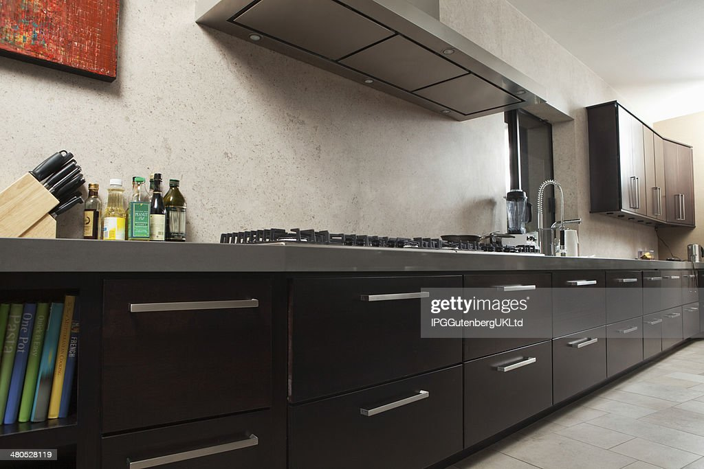 Commercial Kitchen With Drawers And Vent : Stock Photo
